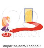 Kid Girl Curiosity Door Question Mark Illustration