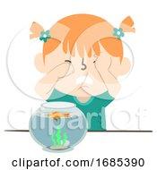 Kid Girl Cry Pet Fish Die Aquarium Illustration