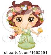 Kid Girl Greek God Demeter Costume Illustration