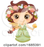 Kid Girl Greek God Demeter Costume Illustration