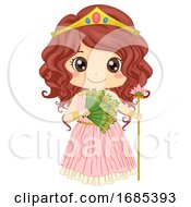 Kid Girl Greek Goddess Hera Costume Illustration