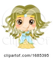 Kid Girl Greek Medusa Costume Illustration