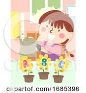 Kid Girl Water Flower Plant Classroom Illustration