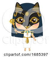 Kid Girl Egyptian God Bastet Costume Illustration