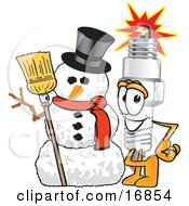 Clipart Picture Of A Spark Plug Mascot Cartoon Character With A Snowman On Christmas by Toons4Biz