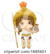 Kid Girl Athena Costume Illustration