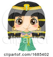 Kid Girl Cleopatra Costume Illustration