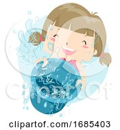 Kid Girl Play Water Pail Illustration