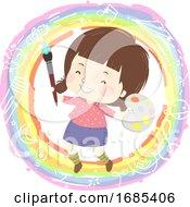 Kid Girl Paint Rainbow Illustration