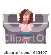 Kid Girl Play Piano Back View Illustration