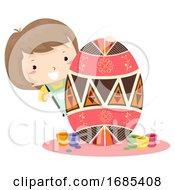 Poster, Art Print Of Kid Girl Paint Pysanka Egg Easter Ukraine