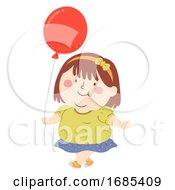 Kid Girl Fat Balloon Illustration