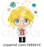 Kid Girl Astronomer Illustration