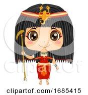 Kid Girl Egyptian God Serket Costume Illustration