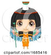 Kid Girl Egyptian Goddess Nephthys Illustration
