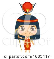 Kid Girl Egyptian God Hathor Illustration