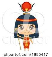 Kid Girl Egyptian God Hathor Illustration
