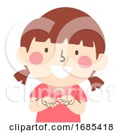 Kid Girl Hands Happy Want Illustration