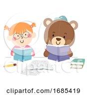 Kid Girl Imaginary Friend Study Illustration