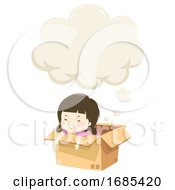 Kid Girl Imagination Box Speech Cloud Illustration