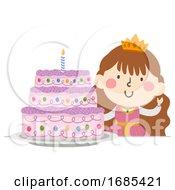 Kid Girl Princess Cake Illustration