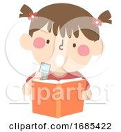 Kid Girl Study Recorder Illustration