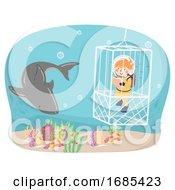 Kid Girl Oceanography Shark Cage Illustration