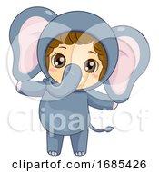 Kid Girl Safari Elephant Costume Illustration