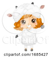 Kid Girl Animal Costume Sheep Illustration