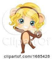 Kid Girl Animal Monkey Costume Illustration