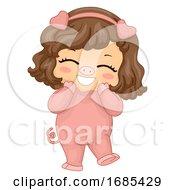 Poster, Art Print Of Kid Girl Animal Costume Pig Illustration