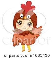 Kid Girl Animal Costume Chicken Illustration