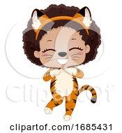Kid Girl Safari Animal Tiger Costume Illustration