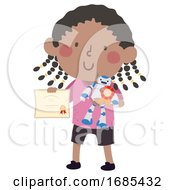 Kid Girl Black Robot Award Illustration