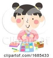 Kid Girl Paper Quilt Craft Illustration