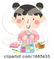 Kid Girl Paper Quilt Craft Illustration