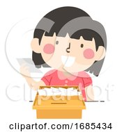 Kid Girl Read Vote Poll Box Illustration