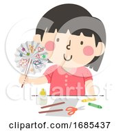 Kid Girl Paper Fan Craft Illustration