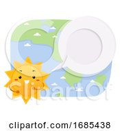 Mascot Sun Reporter Speech Bubble Illustration