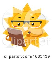 Mascot Sun Scientist Clip Board Illustration