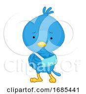 Sick Bird Mascot Broke Arm Illustration
