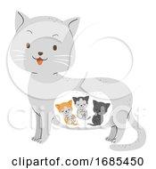 Animal Pregnant Cat Kitten Illustration