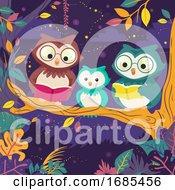 Poster, Art Print Of Owl Read Books Night Tree Illustration