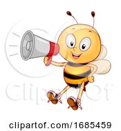 Mascot Bee Megaphone Illustration