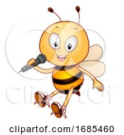 Poster, Art Print Of Mascot Bee Mic Insect Song Illustration