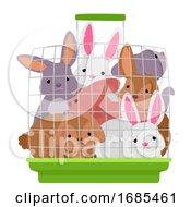 Rabbit Crowded Cage Illustration