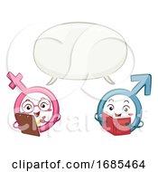 Poster, Art Print Of Mascot Male Female Symbol Speech Bubble