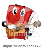 Mascot Book Music Guitar Illustration
