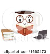 Mascot Coffee Study Hack Books Laptop Illustration