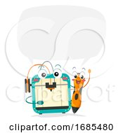 Mascot Printer Pen Talk 3d Illustration